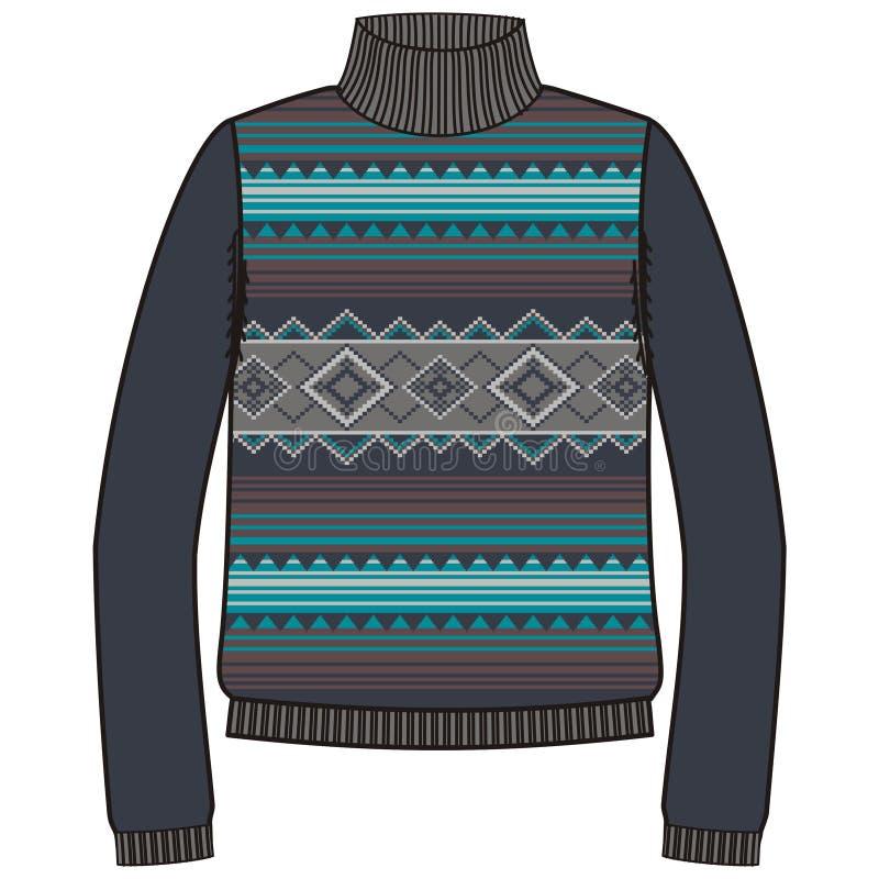 Шлямбур зимы теплый племенной для navajo коренного американца knit handmade, boho стиля фуфайки бесплатная иллюстрация