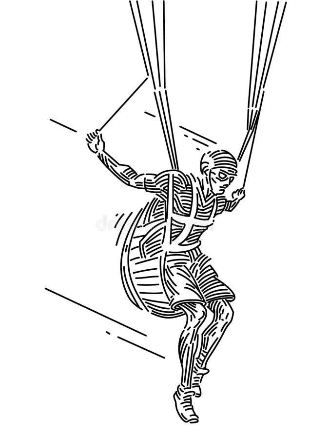 Шлямбур парашюта вектор иллюстрация штока