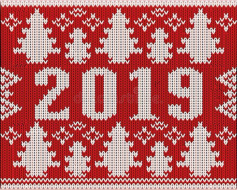 Шлямбур рождества 2019 текстура связанная Новыми Годами иллюстрация вектора