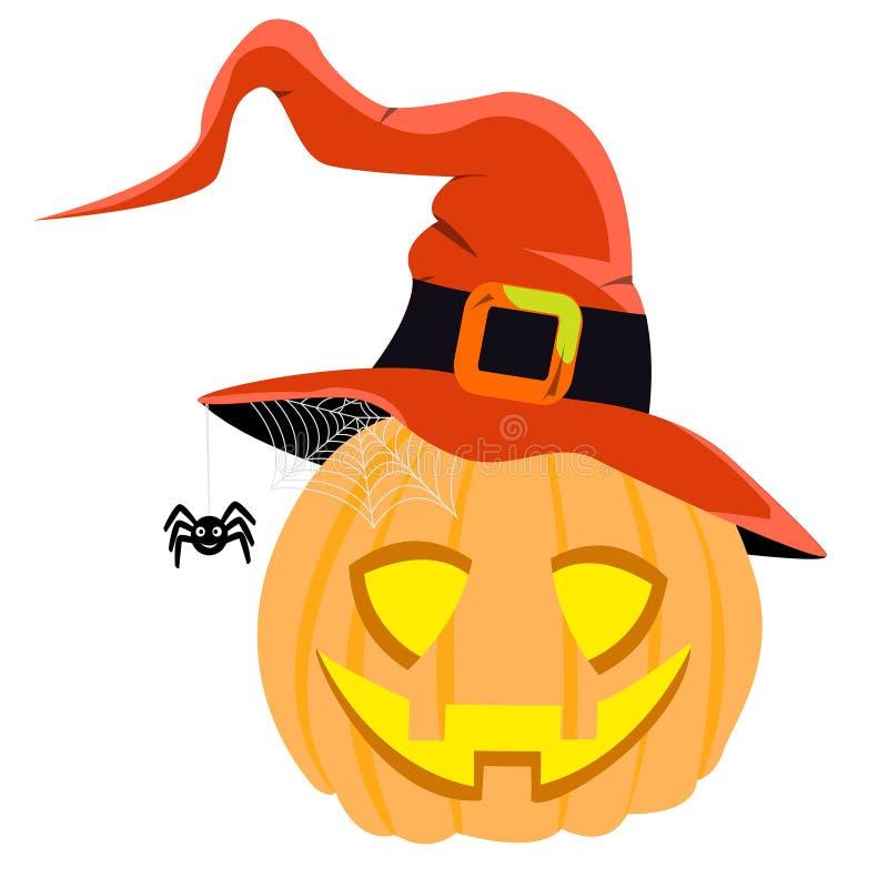 Шляпа ведьмы вектора тыквы хеллоуина красная готовая для партии eps хеллоуина иллюстрация вектора