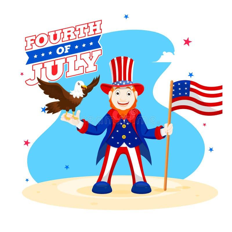Шляпа дядя Сэм счастливого характера человека нося с характером американского флага и орла для четверти от июля иллюстрация вектора