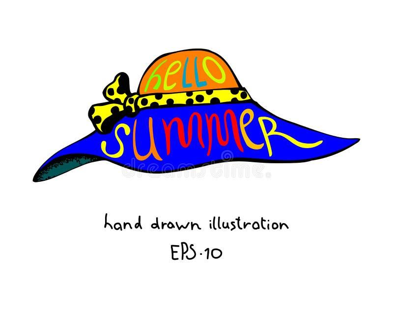 Шляпа женщин лета при нарисованная рука литерности бесплатная иллюстрация