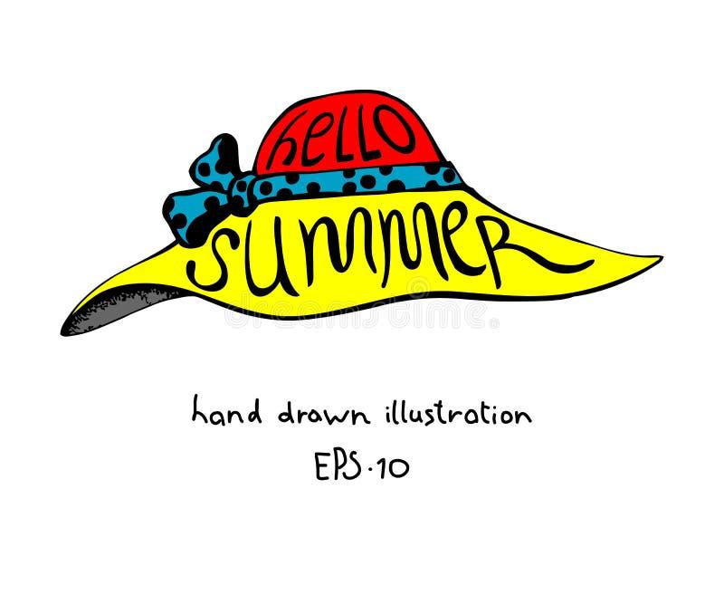 Шляпа женщин лета при нарисованная рука литерности иллюстрация штока