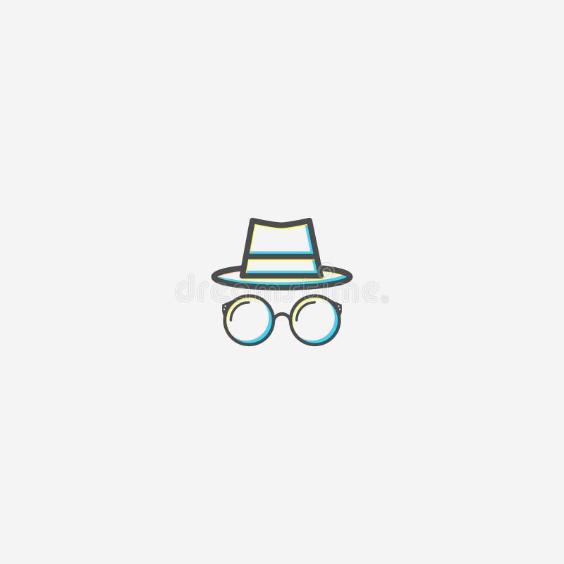 Шляпа и стеклянный дизайн логотипа иллюстрация штока