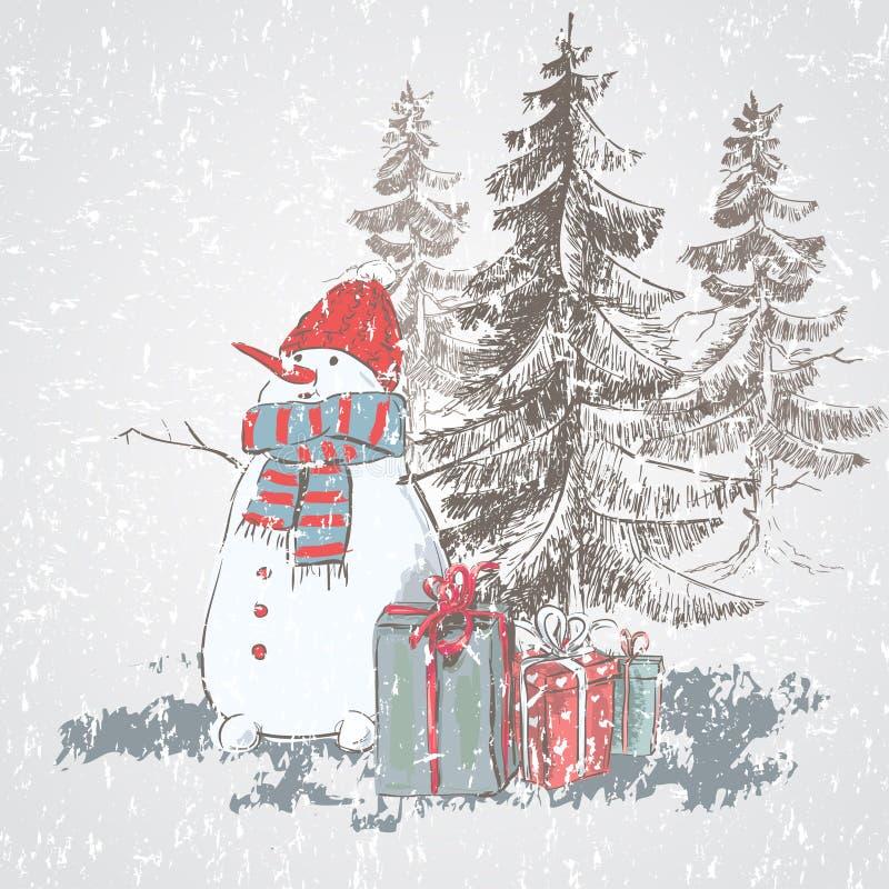 Шляпа и шарф снеговика нося Снеговик рождественской открытки вектора с подарки иллюстрация штока