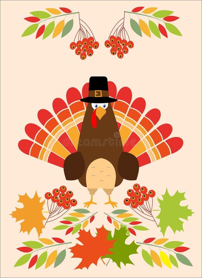 Шляпа паломника птицы индюка пер поздравительной открытки благодарения красная иллюстрация вектора