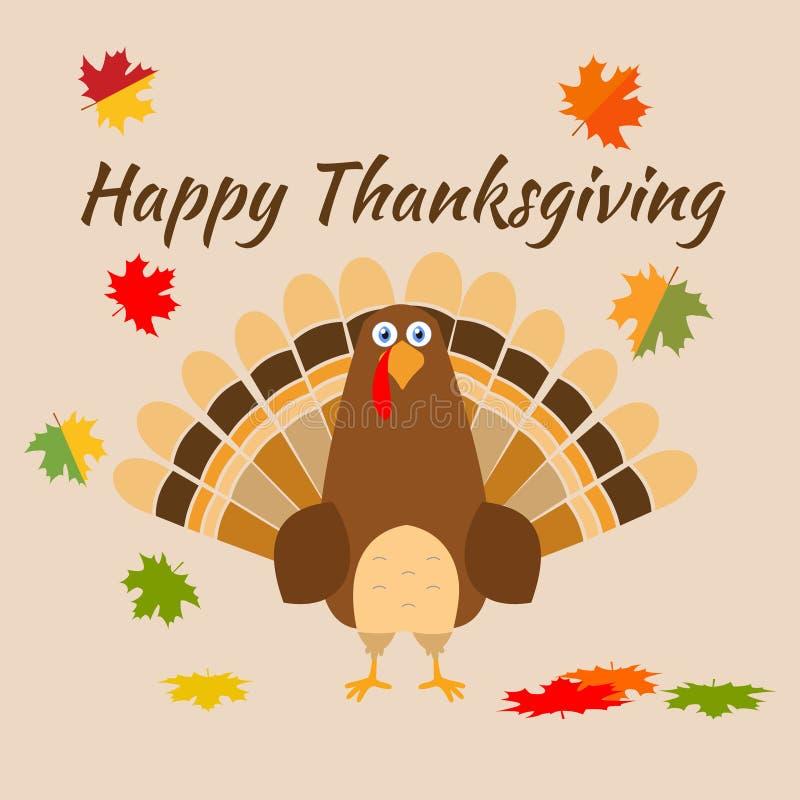 Шляпа паломника птицы индюка поздравительной открытки благодарения Смешной праздник персонажа из мультфильма иллюстрация вектора