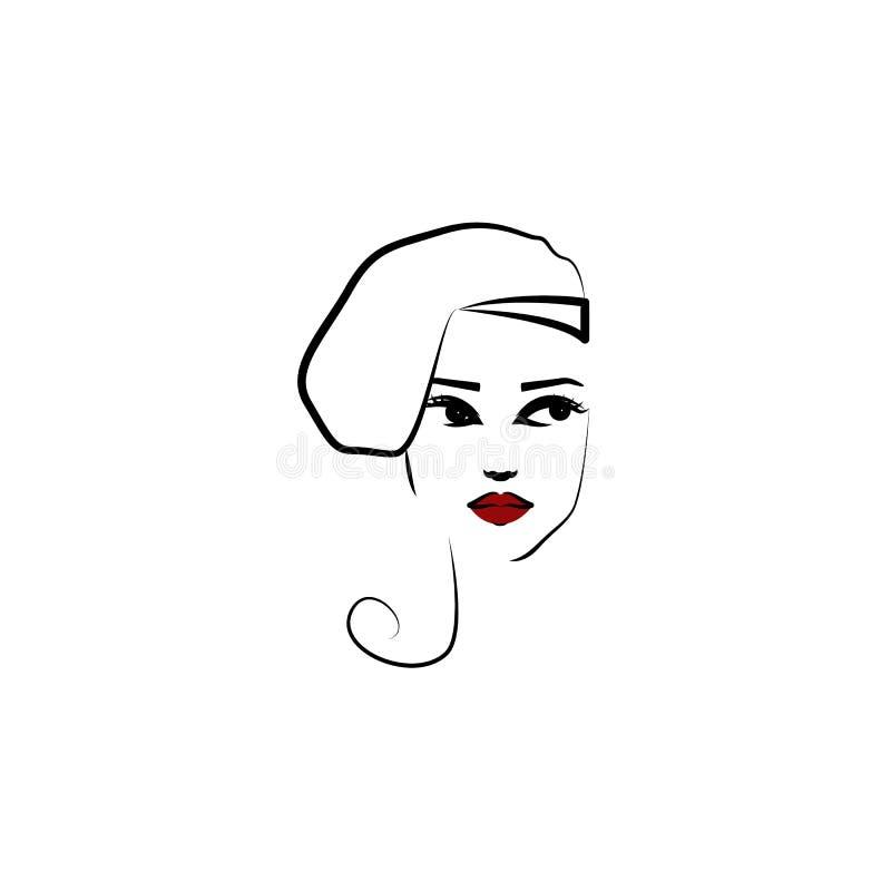Шляпа профиля, значок девушки Элемент красивой девушки в значке шляпы для мобильных приложений концепции и сети Тонкая шляпа проф бесплатная иллюстрация