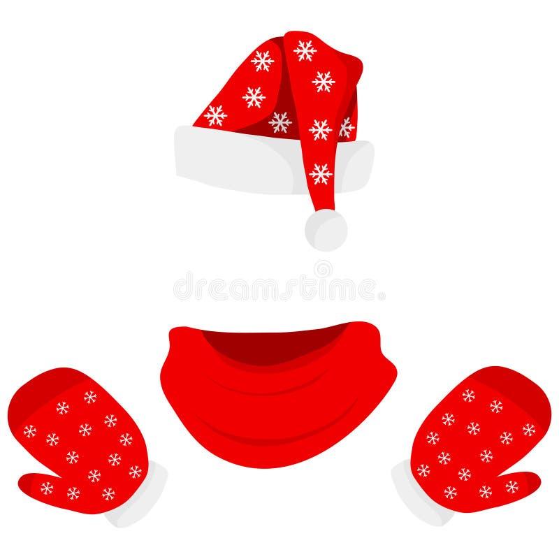Шляпа Санта Клауса с шарфом и перчатками иллюстрация вектора