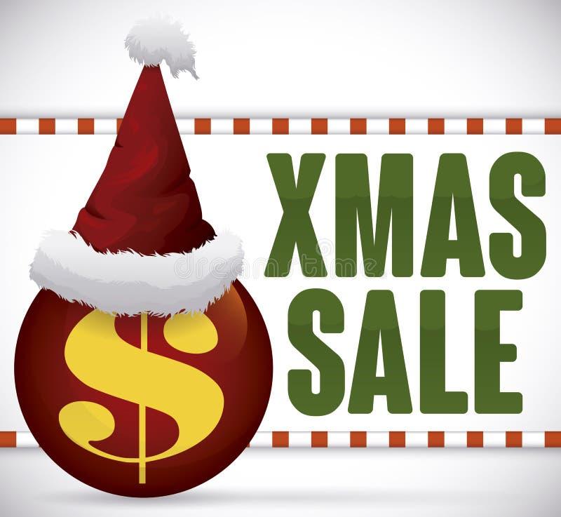 Шляпа Санта над шариком в выдвиженческом знаке для продажи Xmas, вектора иллюстрация вектора