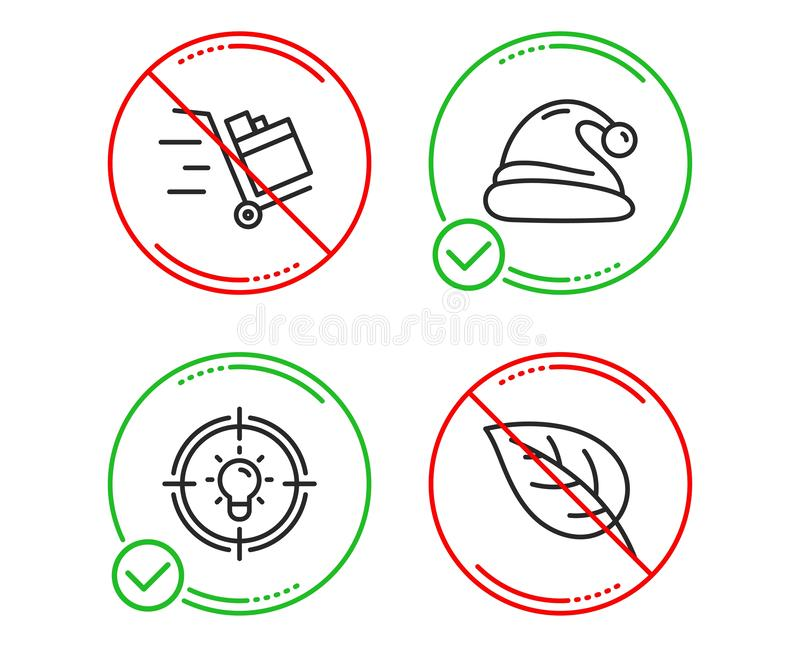 Шляпа Санта, тележка нажима и значки идеи набор знак лист Рождество, срочная поставка, решение environmental вектор иллюстрация вектора