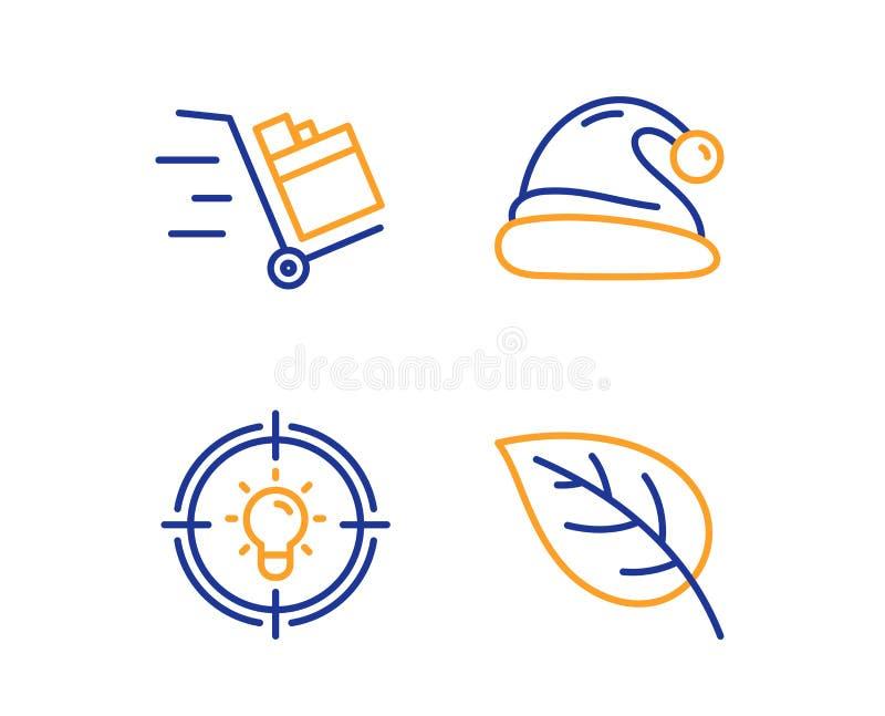 Шляпа Санта, тележка нажима и значки идеи набор Знак лист Рождество, срочная поставка, решение environmental r иллюстрация штока