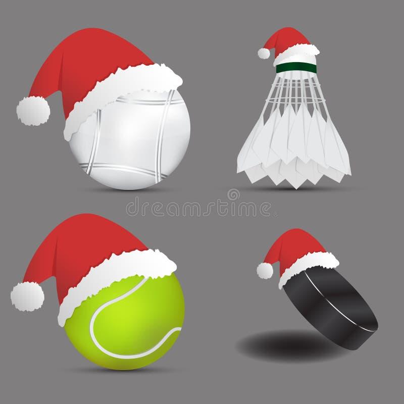 Шляпа Санты с shuttlecock шарика Boules или шарик хоккея на льде теннисного мяча шарика бадминтона на серой предпосылке спорты ус иллюстрация вектора