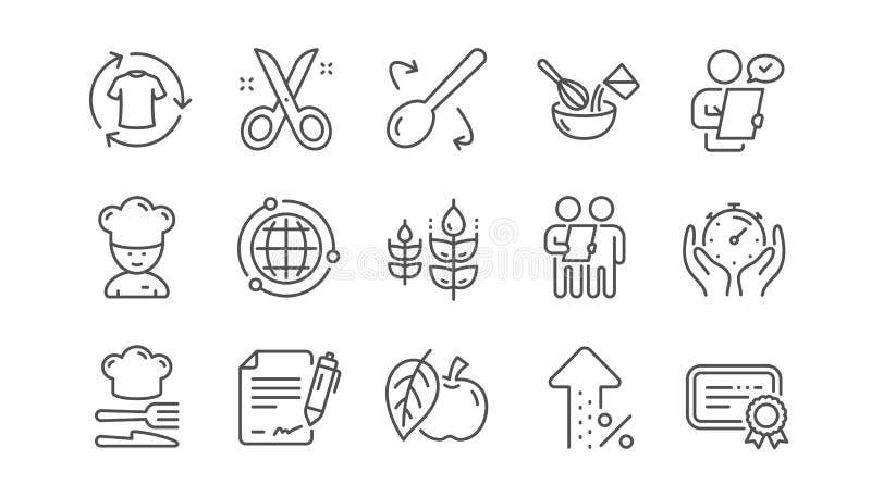 Шляпа шеф-повара, опрос потребителей, одобренная линия значки применения Ножницы режа, сертификат Линейный набор r бесплатная иллюстрация