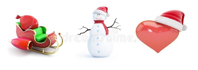 Шляпа santa людей снега, сани santa, шляпа на белой иллюстрации предпосылки 3D, santa сердца перевод 3D иллюстрация штока