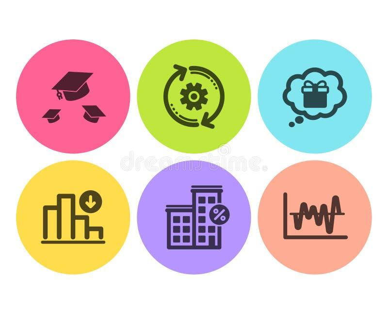 Шляпы Cogwheel, хода и уменьшая набор значков диаграммы Дом займа, мечта подарка и анализ запаса знаки r иллюстрация штока
