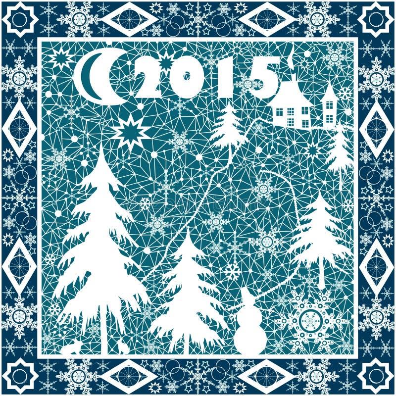 Шнурок подушки рождества белый орнамент 2015 год на сини иллюстрация вектора