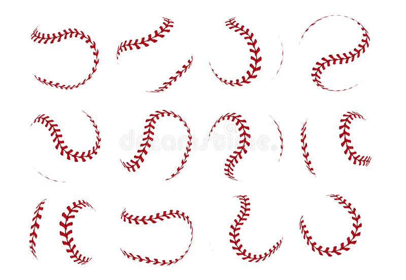 Шнурок шарика бейсбола Реалистические линии хода софтбола для логотипа и знамен спорта Набор вектора изолированный на белизне иллюстрация штока