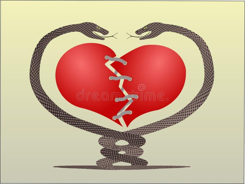 шнур змейки сердца стоковые изображения