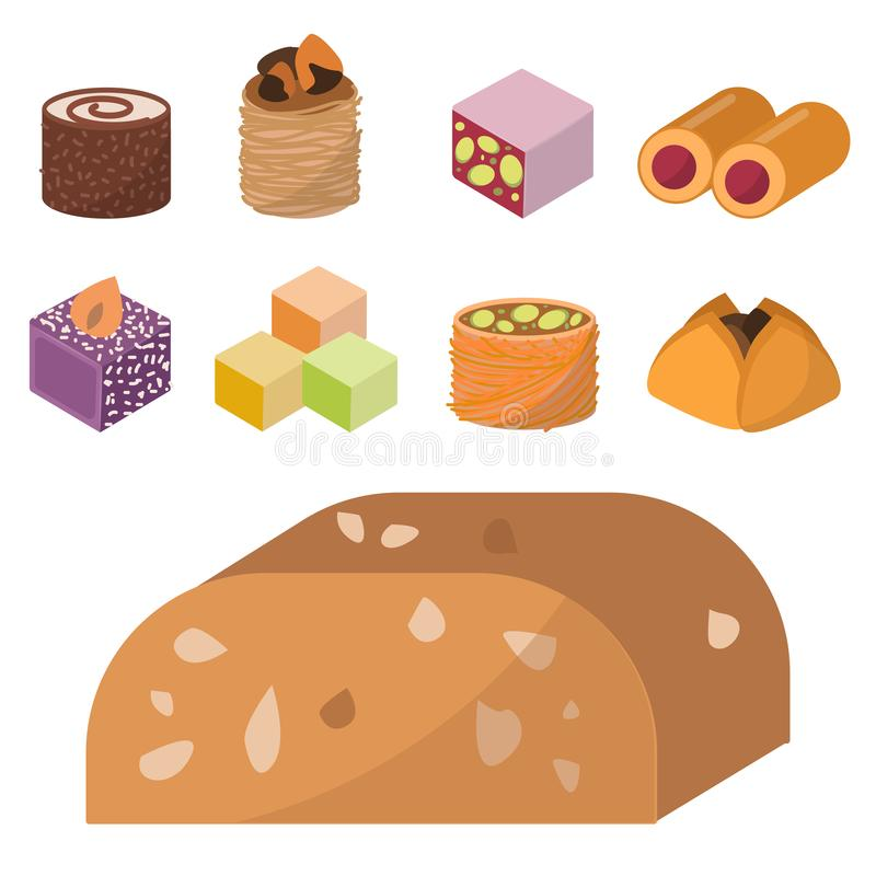 Шоколадного торта ассортимента кондитерскаи еды десерта востока помадок наслаждения сладости пекарни очень вкусного домодельного  иллюстрация штока