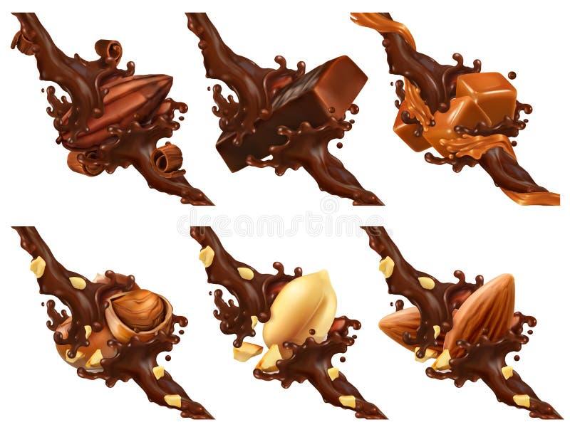 Шоколадный батончик, гайки, карамелька, фасоль какао в выплеске шоколада иллюстрация вектора
