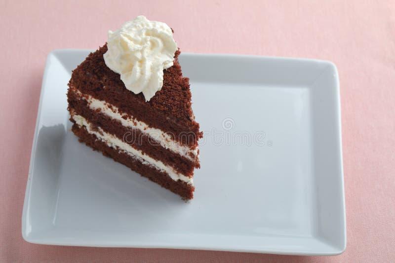 Шоколадный торт на белом блюде стоковое фото rf