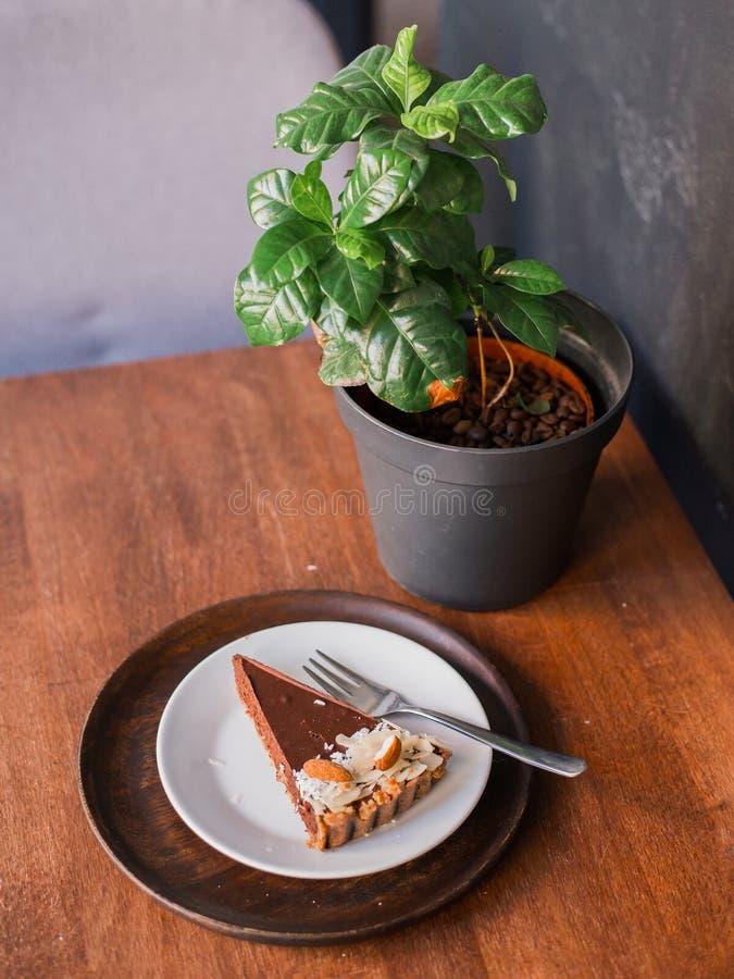 Шоколадный торт на плите в кафе десерта, пирожное десерта домодельного пирога вишни стоковые фото