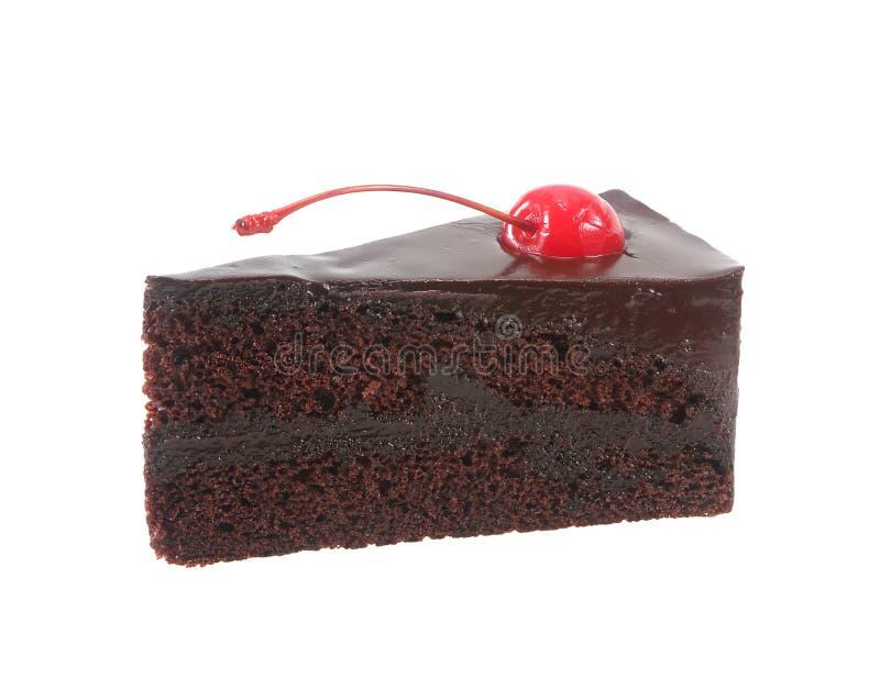 Шоколадный торт с вишней изолированной на белой предпосылке стоковые изображения rf