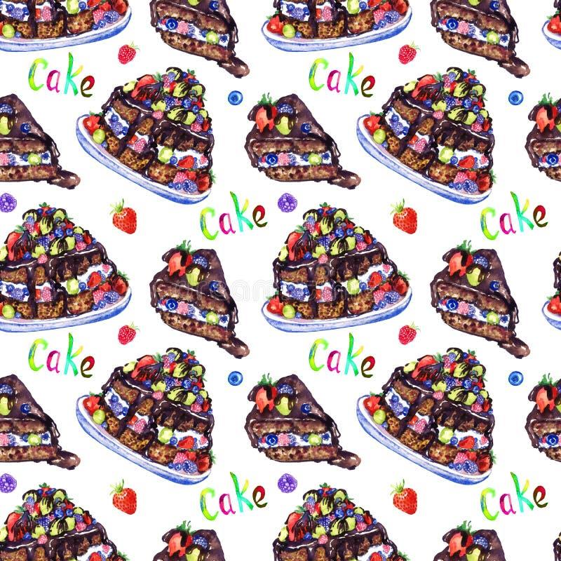 Шоколадный торт с ягодами и куском отрезка, рукой покрасил иллюстрацию акварели с надписью, безшовным дизайном картины на белизне иллюстрация вектора