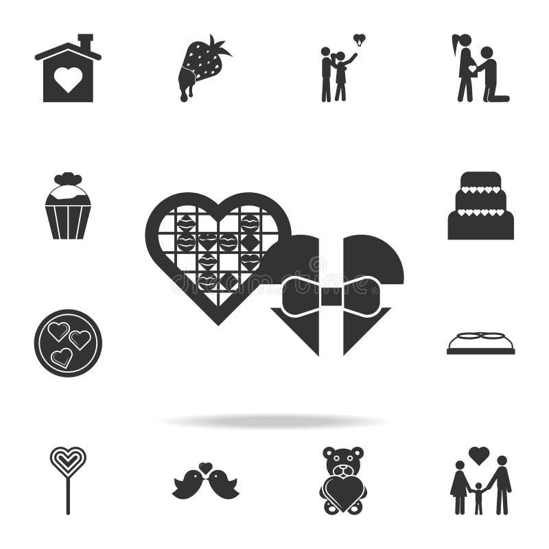 шоколады в сердце кладут значок в коробку Детальный комплект знаков и элементы значков влюбленности Наградной качественный графич бесплатная иллюстрация