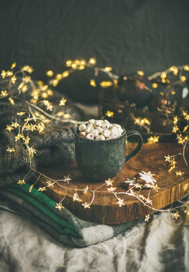 Шоколад зимы рождества или Нового Года горячий с зефирами стоковые фотографии rf