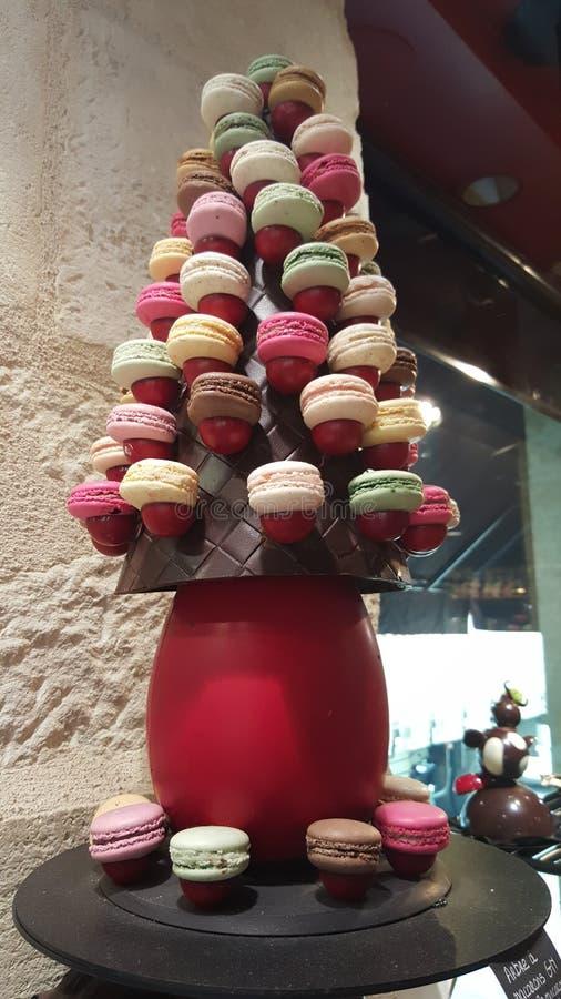 Шоколад Бордо Macarron стоковое фото