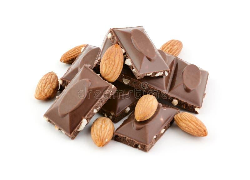 Шоколад и миндалины стоковая фотография rf