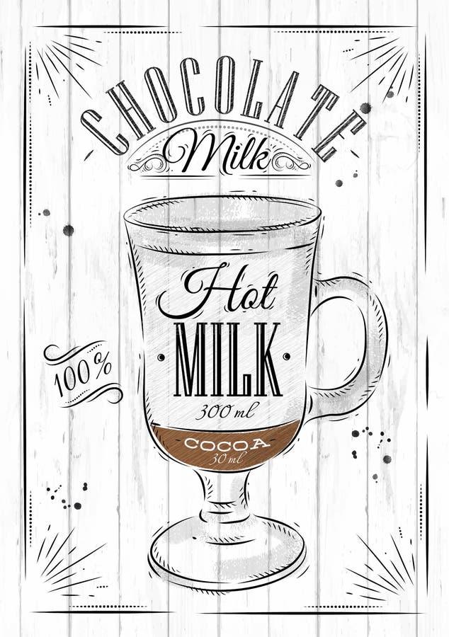Шоколадное молоко плаката иллюстрация штока