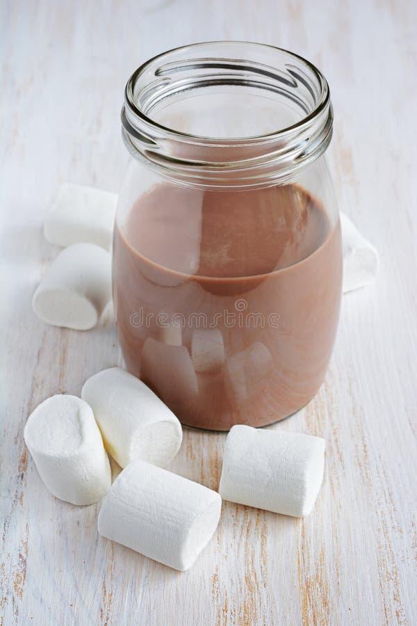Шоколадное молоко с зефиром стоковые фото