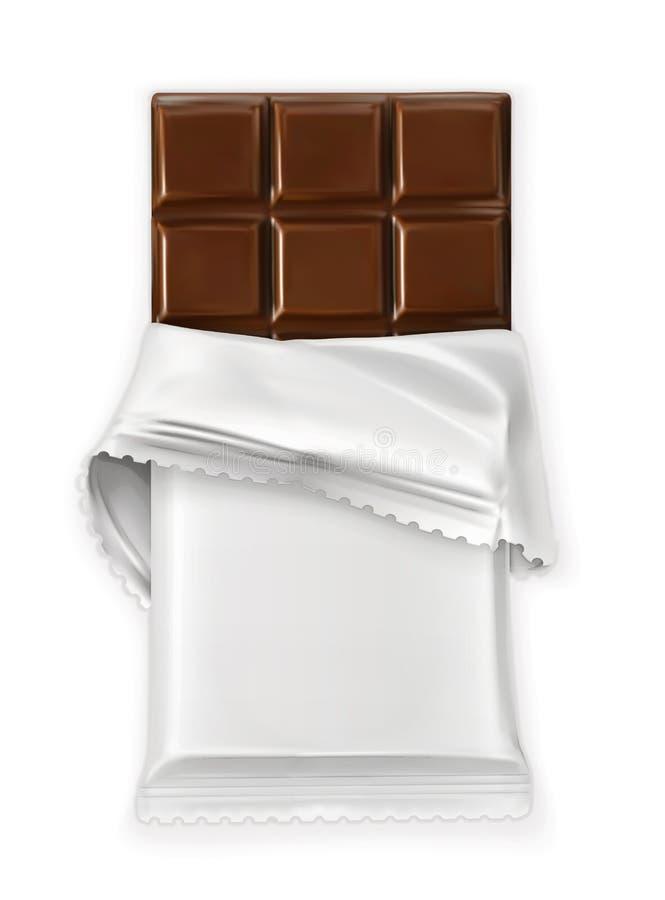 Шоколадный батончик, белый обруч полиэтилена иллюстрация штока
