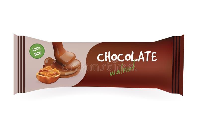 Шоколадный батончик с грецким орехом Модель-макет для ваших дизайна и клеймить Шаблон оболочки Snak упаковывать изолированный едо иллюстрация вектора