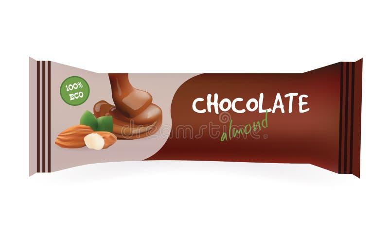 Шоколадный батончик с миндалиной Модель-макет для ваших дизайна и клеймить Шаблон оболочки Snak упаковывать изолированный едой та иллюстрация штока