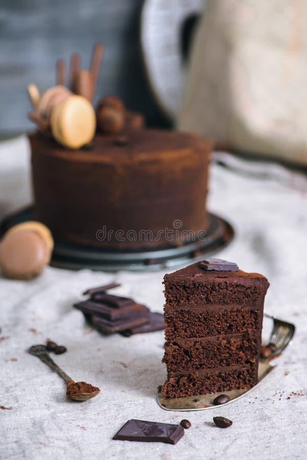 Шоколадный торт и какао стоковые фотографии rf
