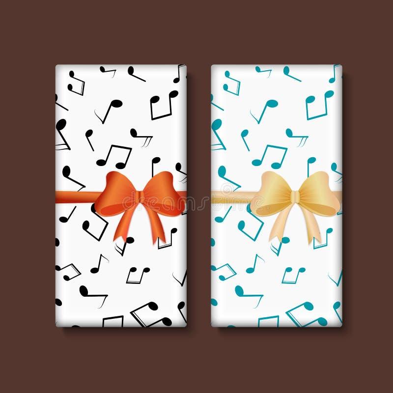 Шоколад с музыкальными примечаниями и смычком иллюстрация штока