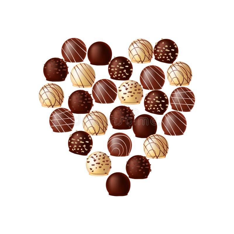 Шоколады в форме сердца иллюстрация штока
