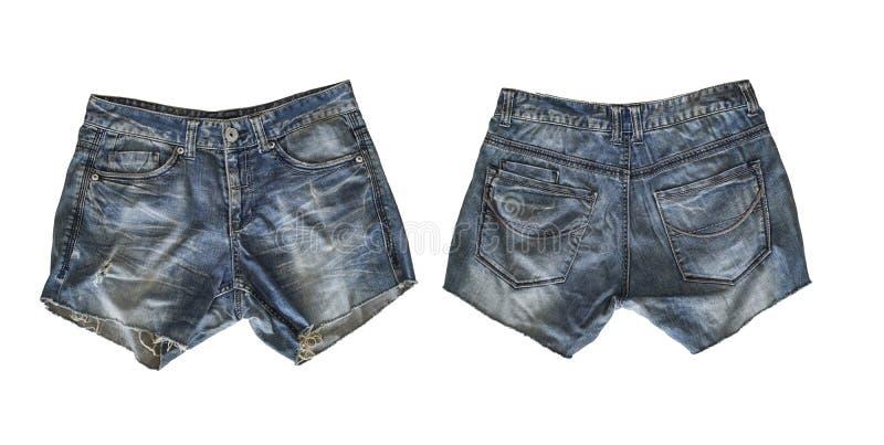 Шорты джинсовой ткани для женщины изолированной на белизне стоковая фотография rf
