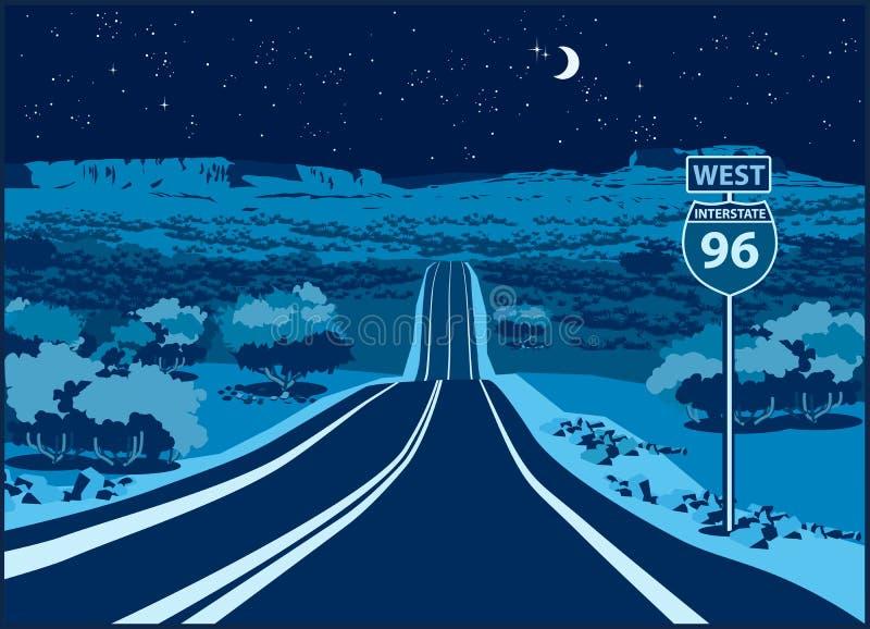 Шоссе к западу на ноче иллюстрация штока