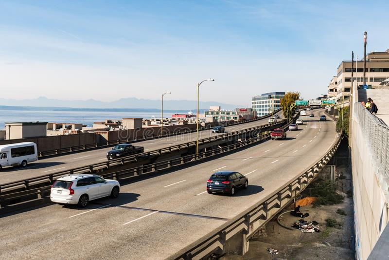 Шоссе портового района рядом с рынком Pike в Сиэтл стоковая фотография rf
