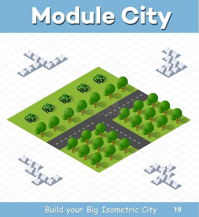 Шоссе страны перекрестков с деревьями парка иллюстрация вектора