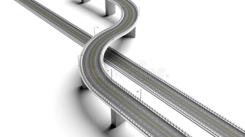 шоссе 3D с элементом обхода иллюстрация штока