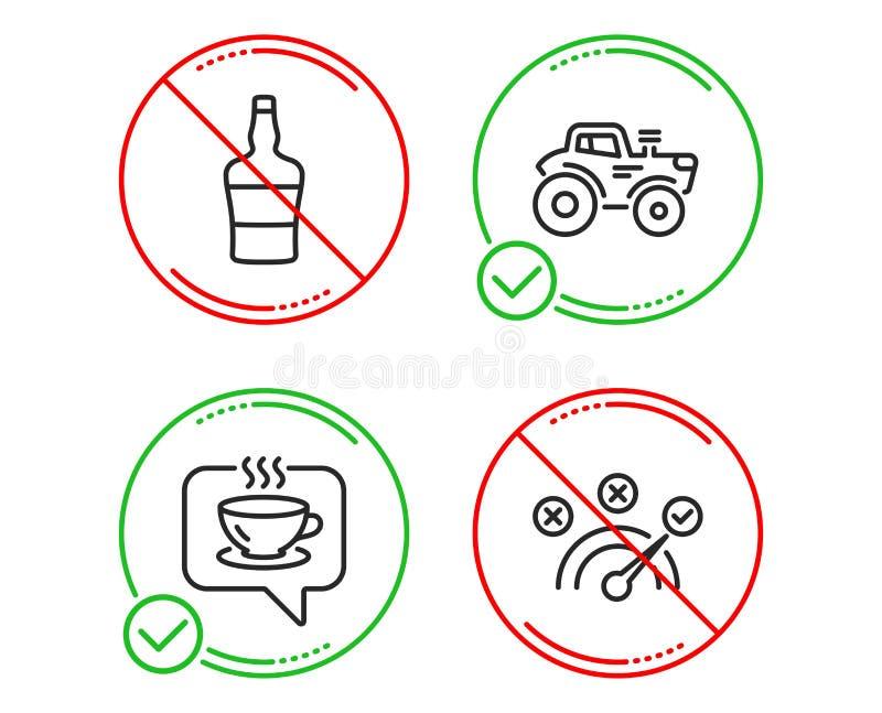 Шотландская бутылка, значки кофе и трактора набор Знак правильного ответа Алкоголь рябиновки, кафе, переход фермы вектор бесплатная иллюстрация