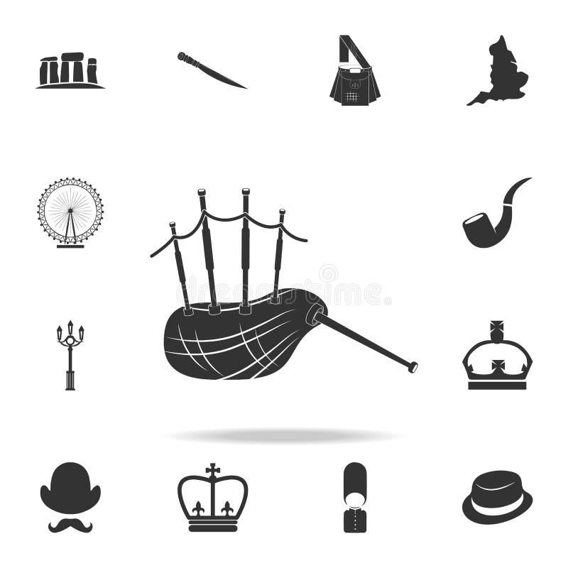 Шотландский значок волынок Детальный комплект значков культуры Великобритании Наградной качественный графический дизайн Один из з иллюстрация вектора