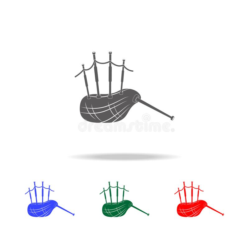 Шотландский значок волынок Элементы значков Великобритании multi покрашенных Наградной качественный значок графического дизайна П иллюстрация вектора