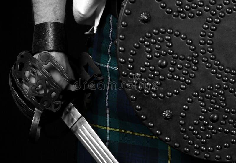 шотландское Targe шпаги Стоковое Изображение